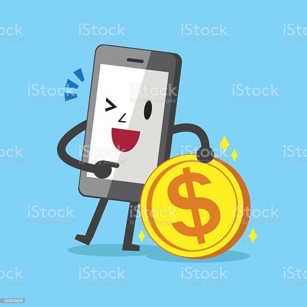 Business concept cartoon smartphone character and money coin vector art illustration