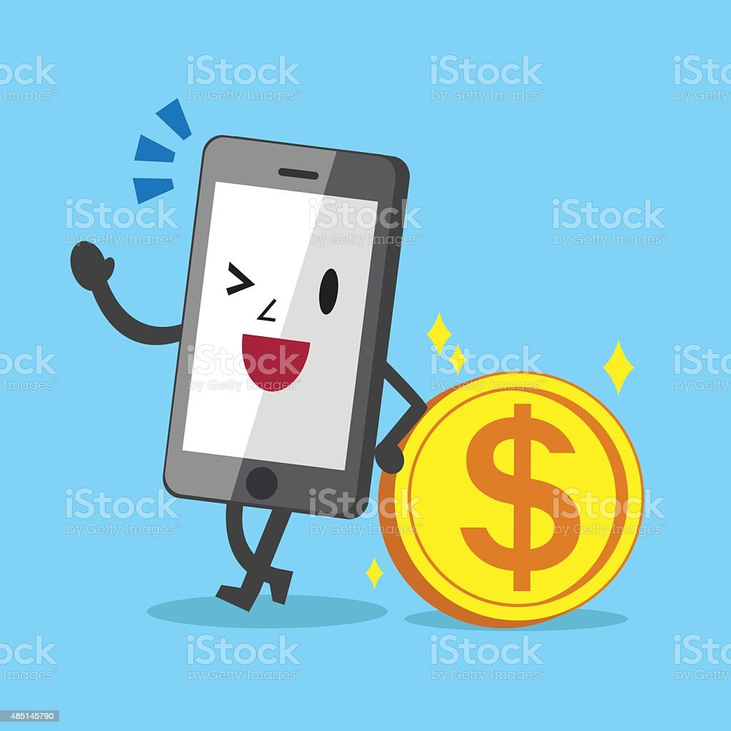 Business Concept Cartoon Smartphone Character Leaning Against Coin vector art illustration