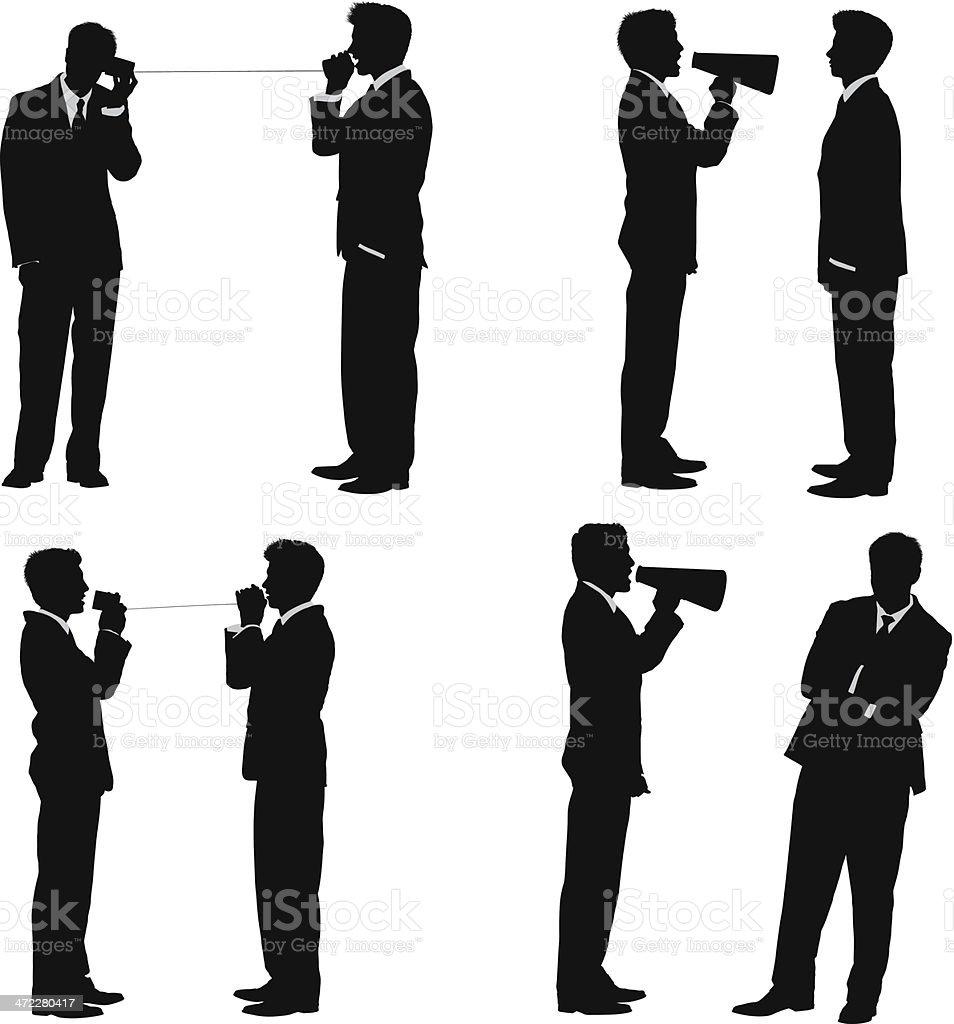 Business concept communication businessmen communicating vector art illustration