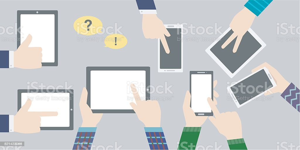 business concept icon background with tablet vector art illustration