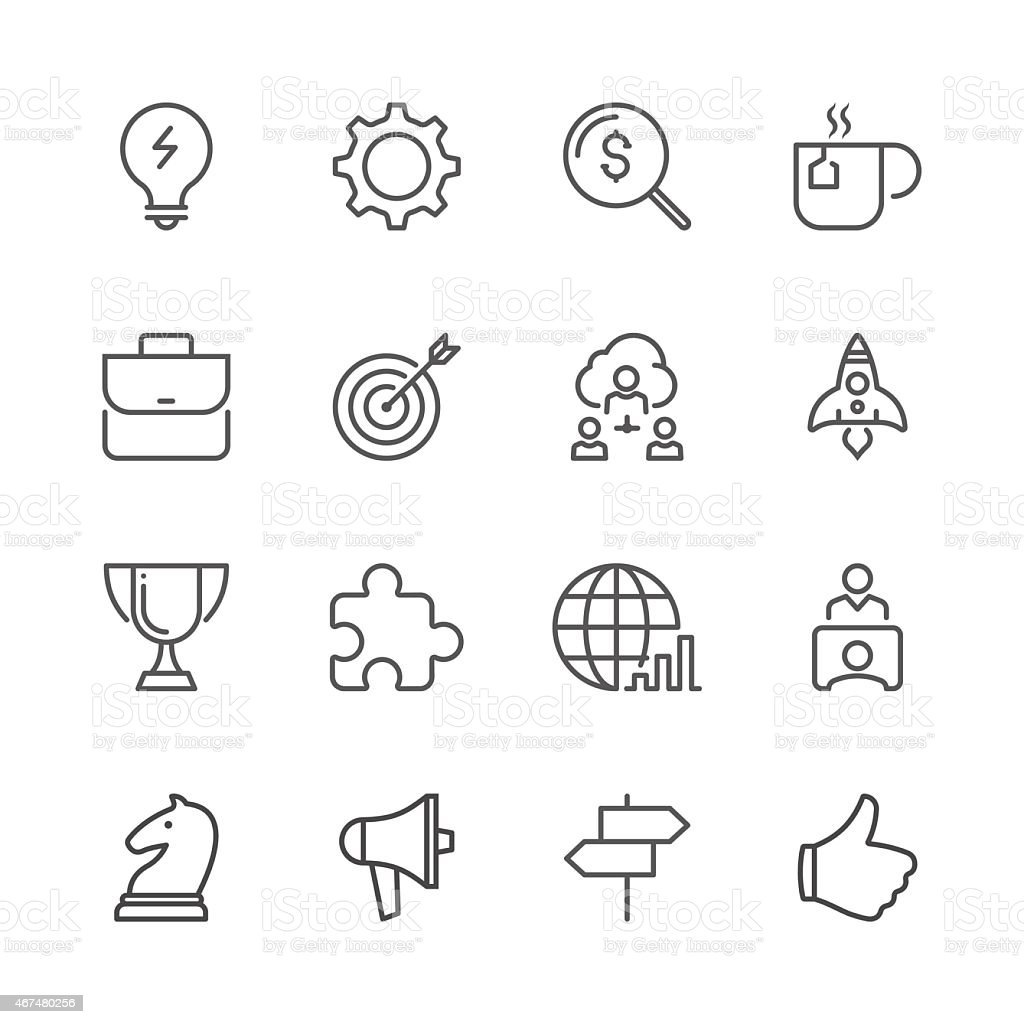 Business concept icon set shown by line icon series vector art illustration