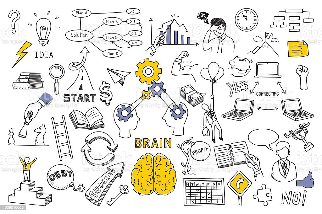 Business concept in doodle style vector art illustration