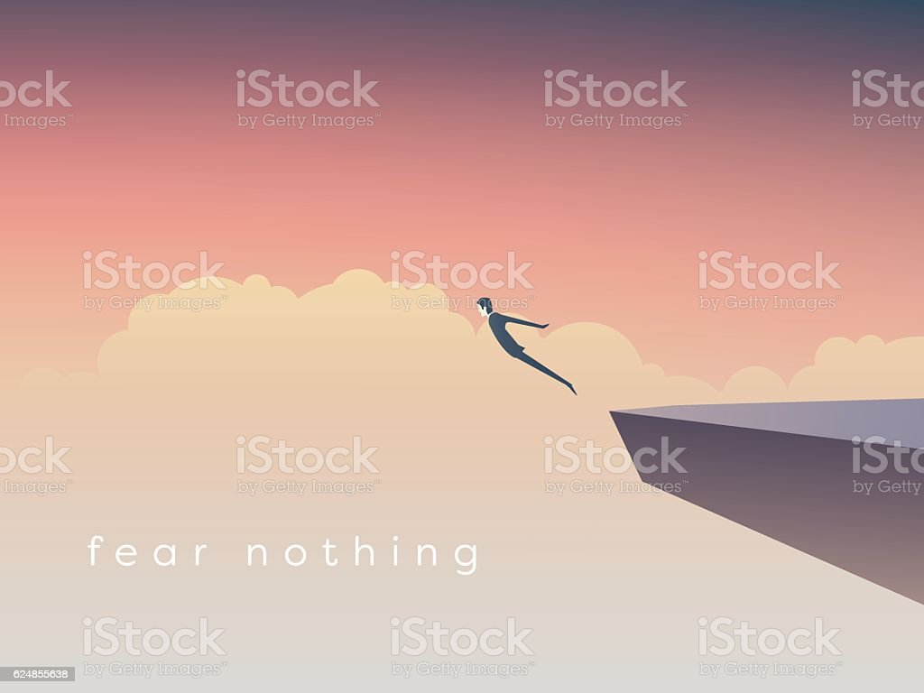 Business concept of courage. Businessman jumping off a cliff as vector art illustration