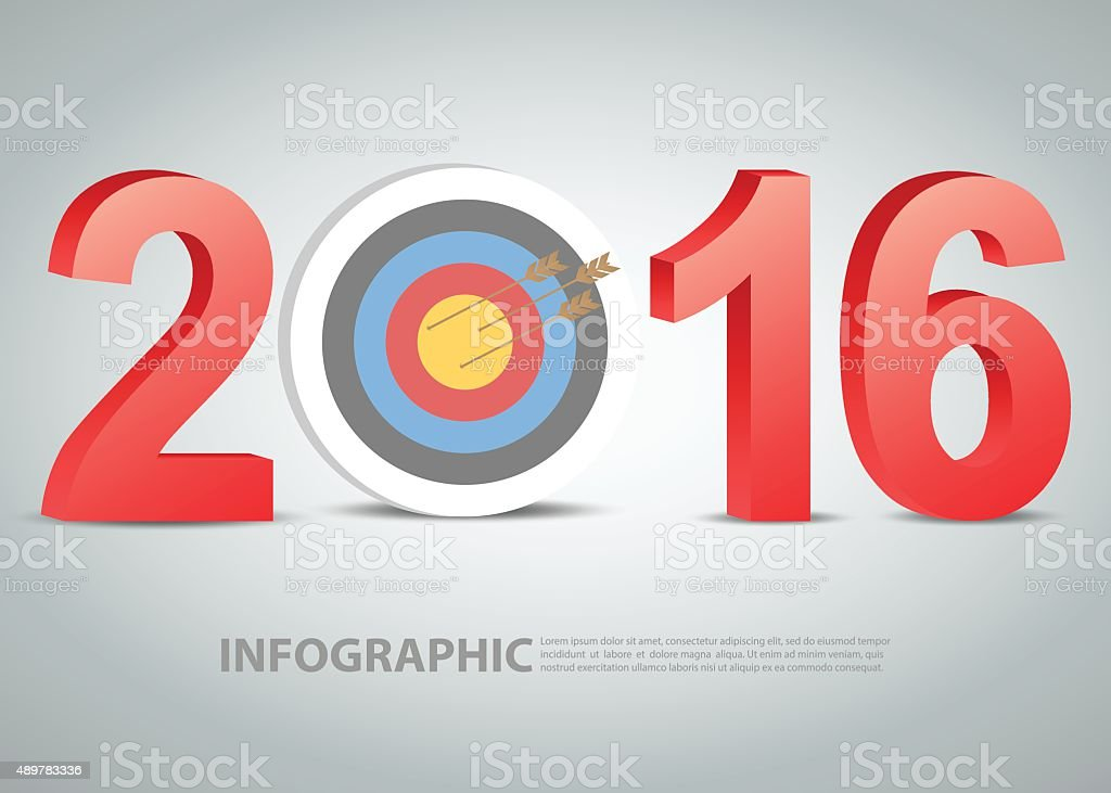 Business concept of new year 2016 vector art illustration