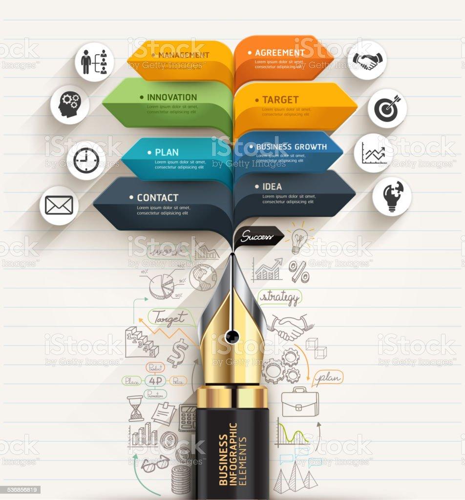 Business concept. Pen and bubble speech arrow template. vector art illustration