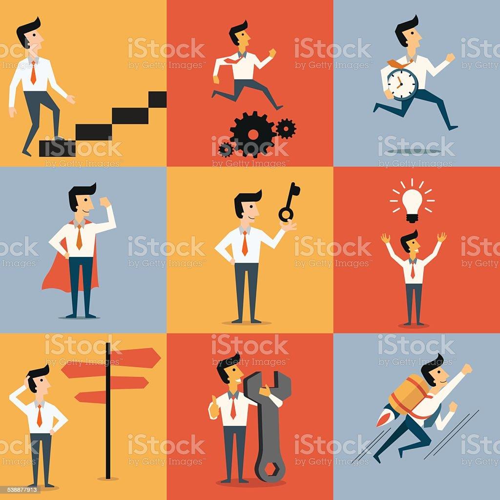 Business concept set vector art illustration