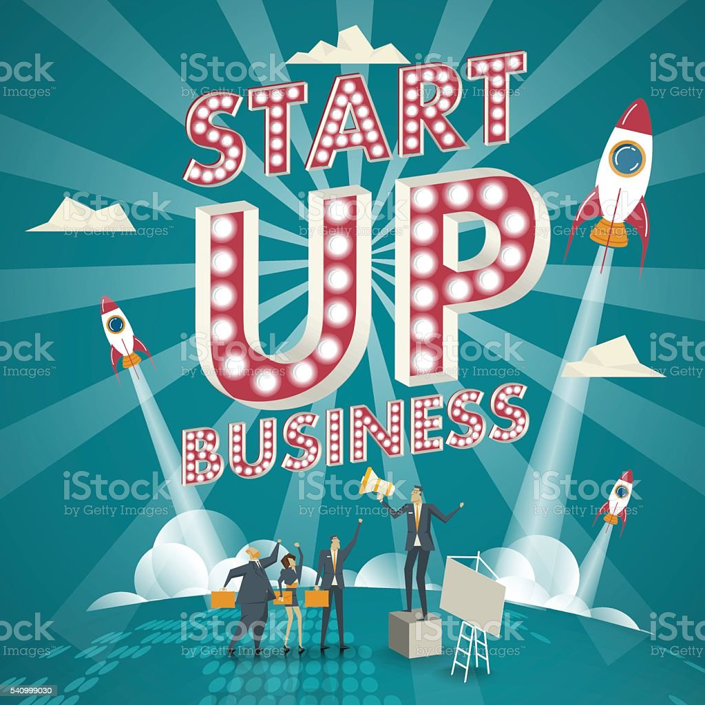 Business concept. Startup concept Business experts create new business models. vector art illustration