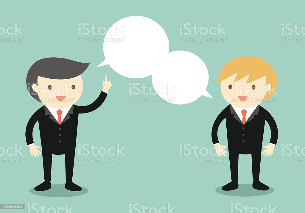 Business concept, Two businessmen are talking the same thing. vector art illustration