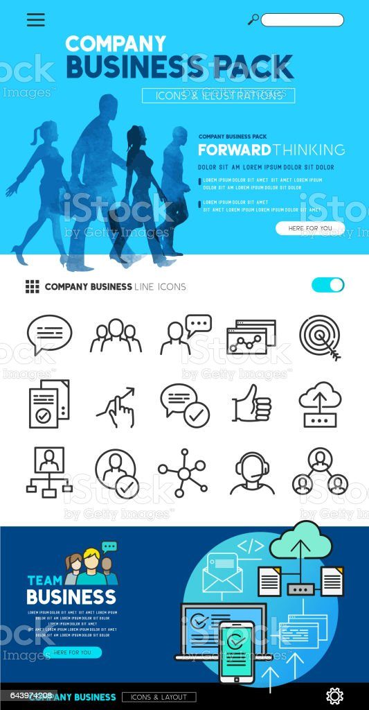 Business Concepts and icons vector art illustration