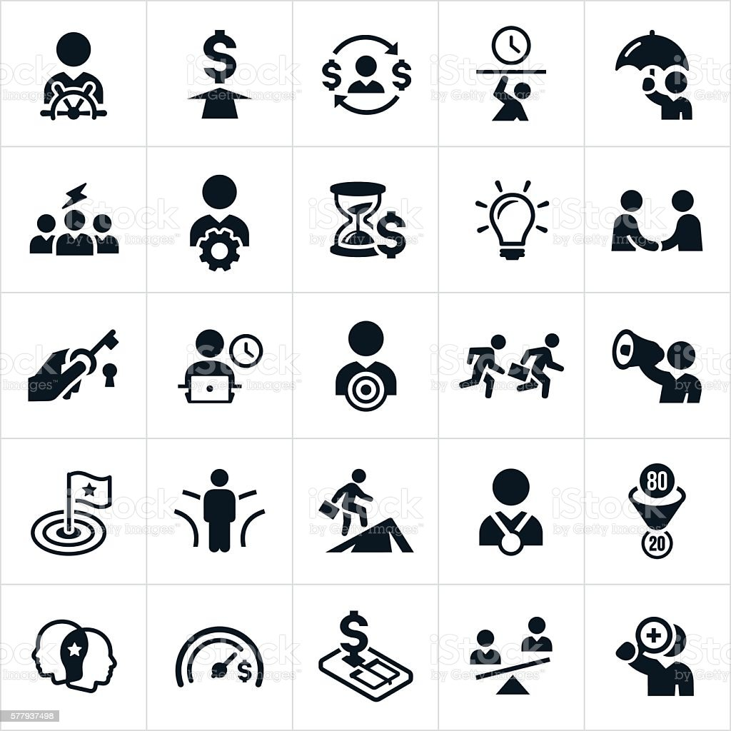 Business Concepts and Metaphors Icons vector art illustration