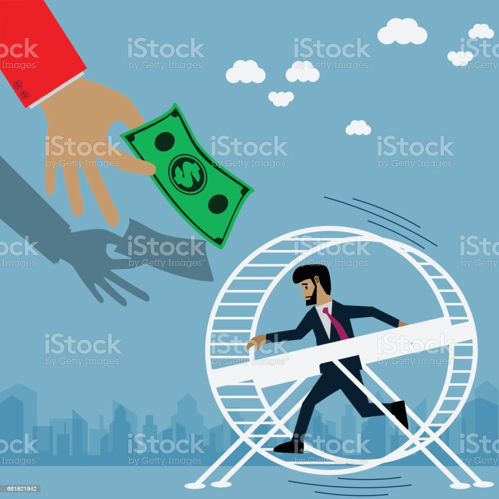 Business Concepts , Businessman running on wheel - Vector , Illustration vector art illustration