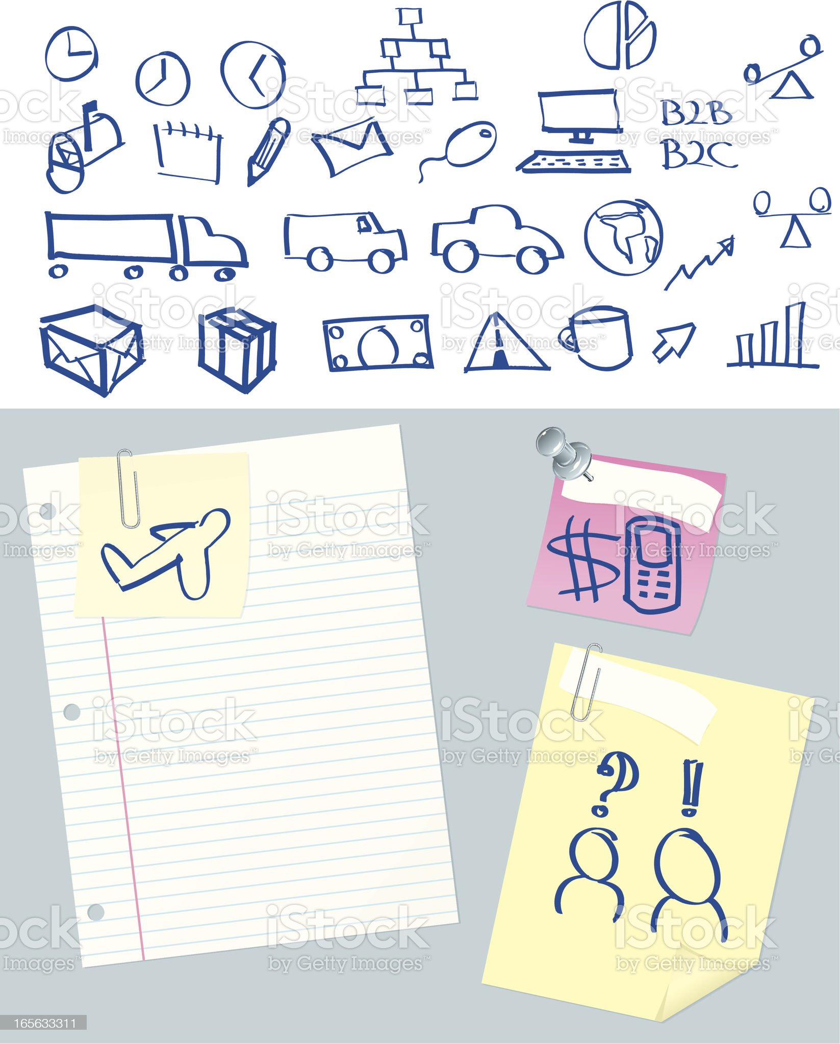 Business Concepts Doodle Notes and Stationery royalty-free stock vector art