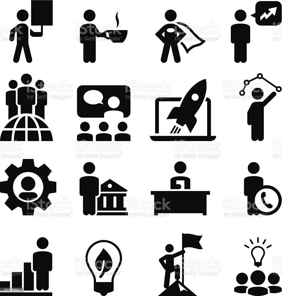 Business Concepts Icons - Black Series vector art illustration