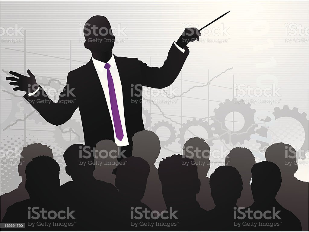 Business Conductor Speech vector art illustration