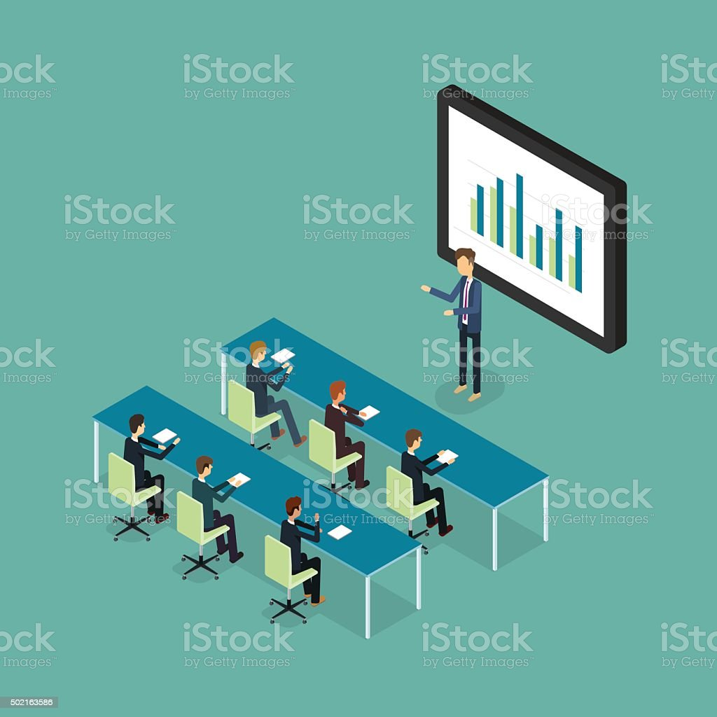 business conference and presentation on finance graph report business training vector art illustration