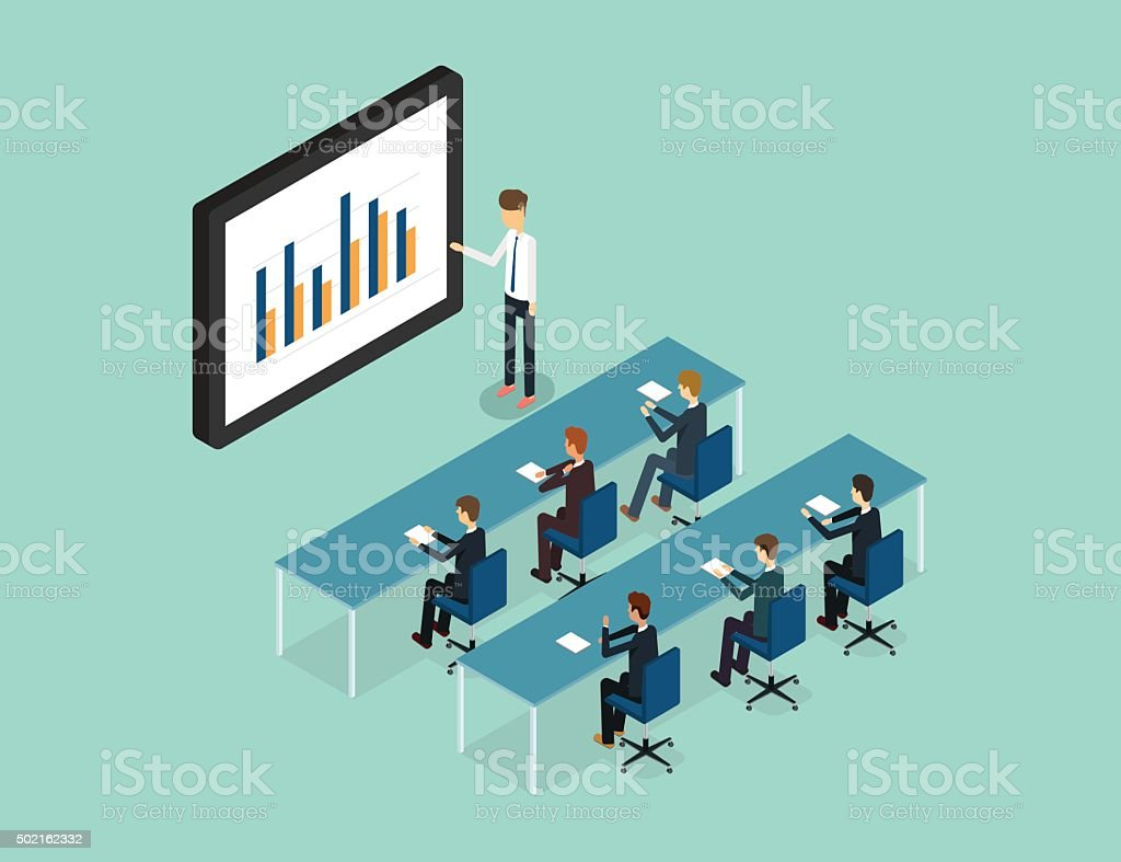 business conference and presentation on finance graph report monitor.stock training. vector art illustration