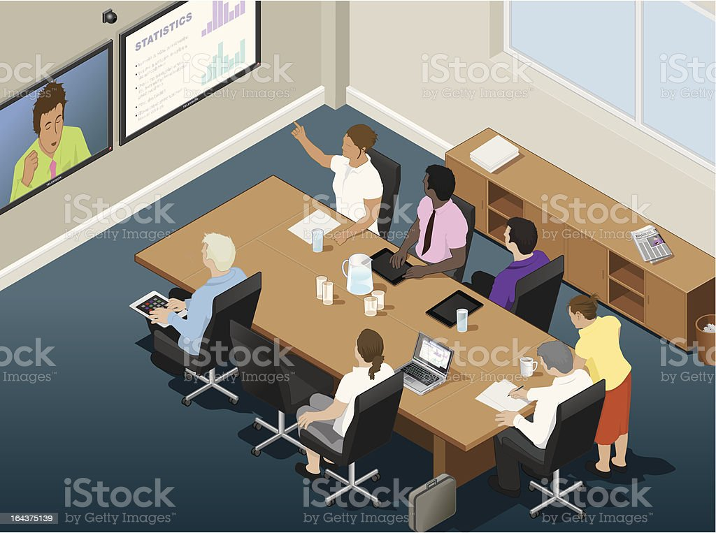 Business conference call in an office vector art illustration