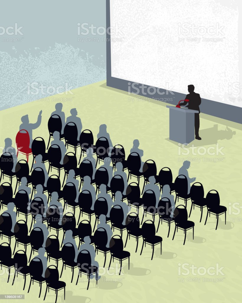 Business conference or meeting with speaker vector art illustration
