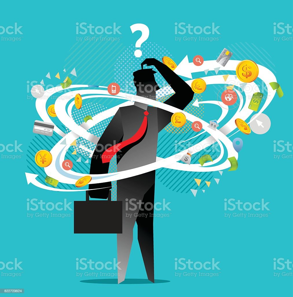 Business confusion vector art illustration