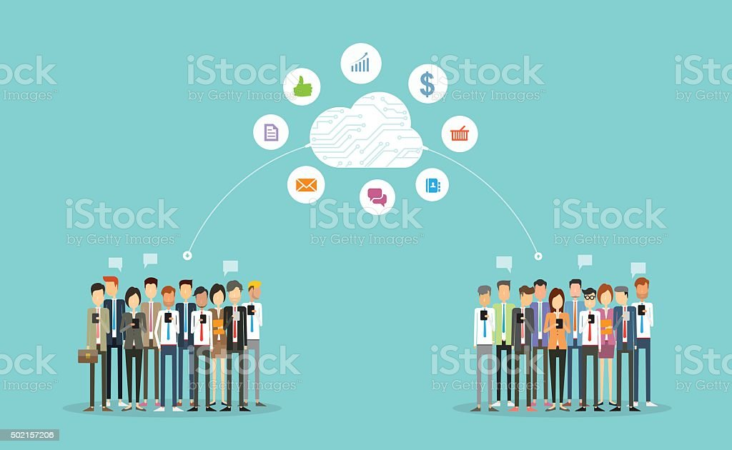 business connection on cloud vector art illustration