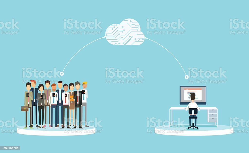 business connection to people on cloud concept vector art illustration
