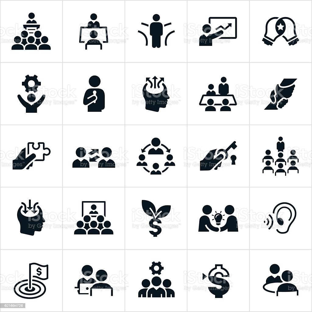 Business Consulting Icons vector art illustration