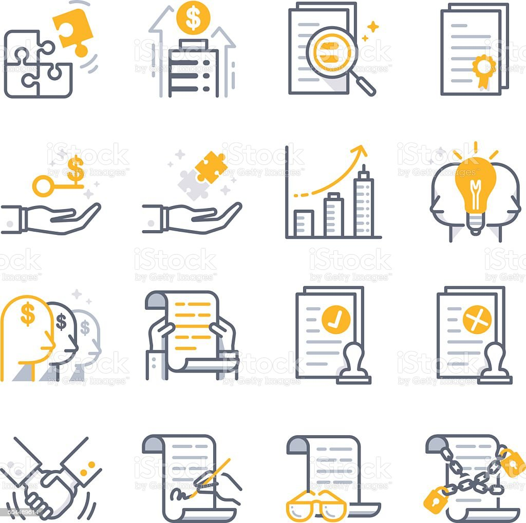 Business Contract Agreement icons vector art illustration