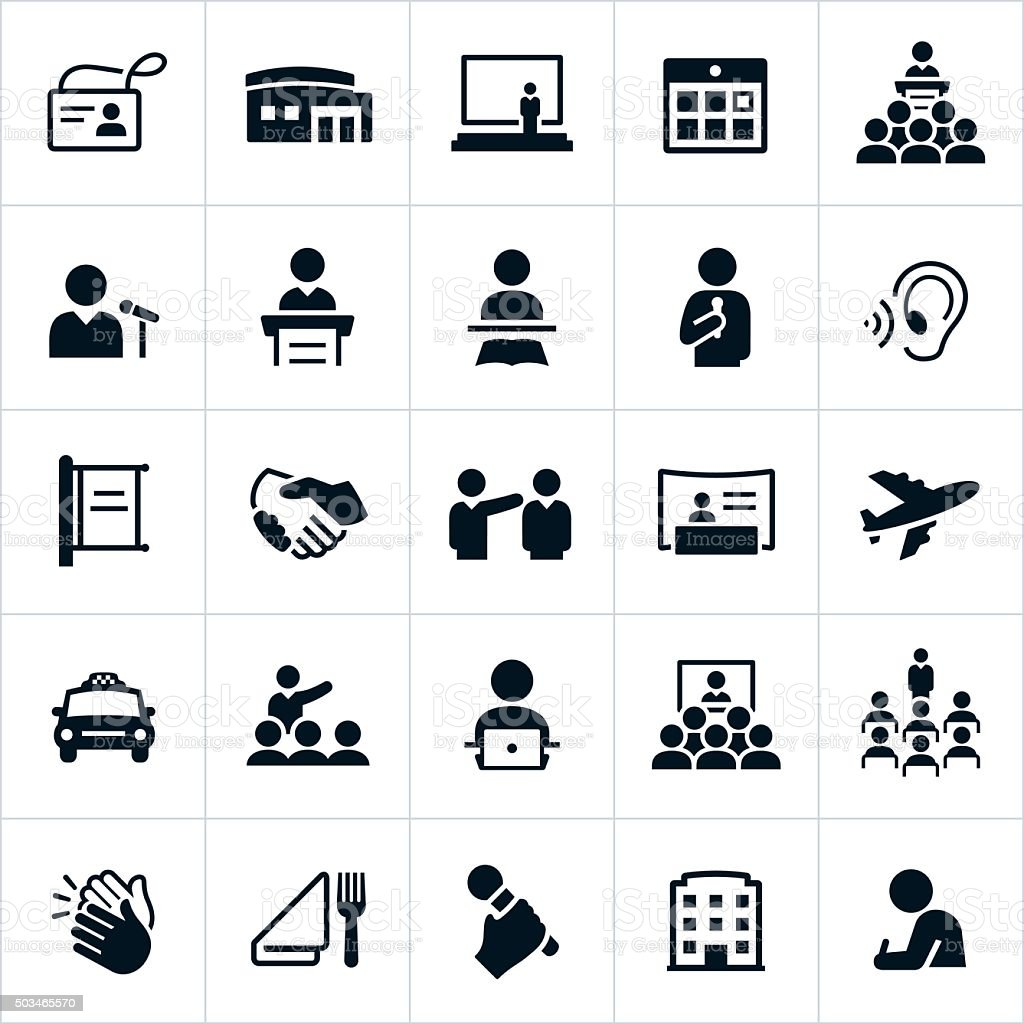 Business Convention Icons vector art illustration