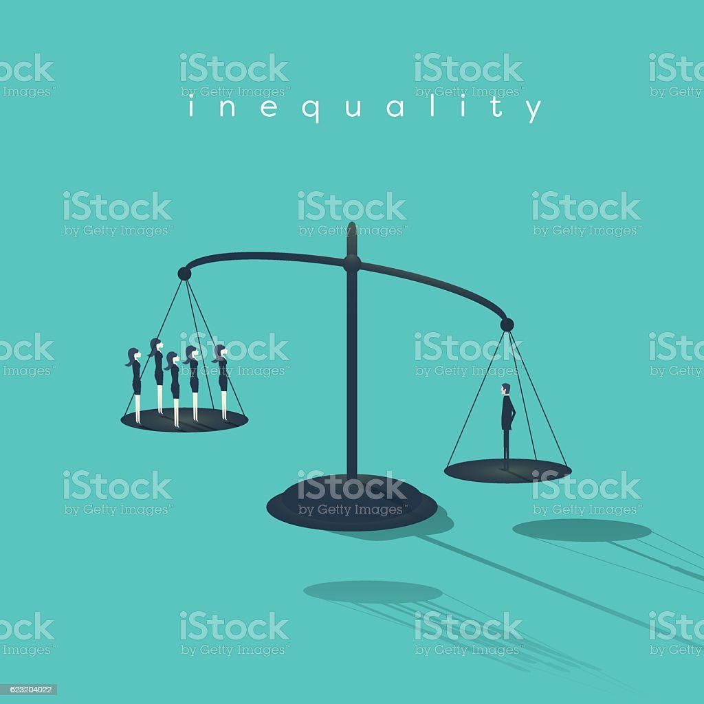 Business corporate inequality concept with businessman and businesswoman on scales vector art illustration