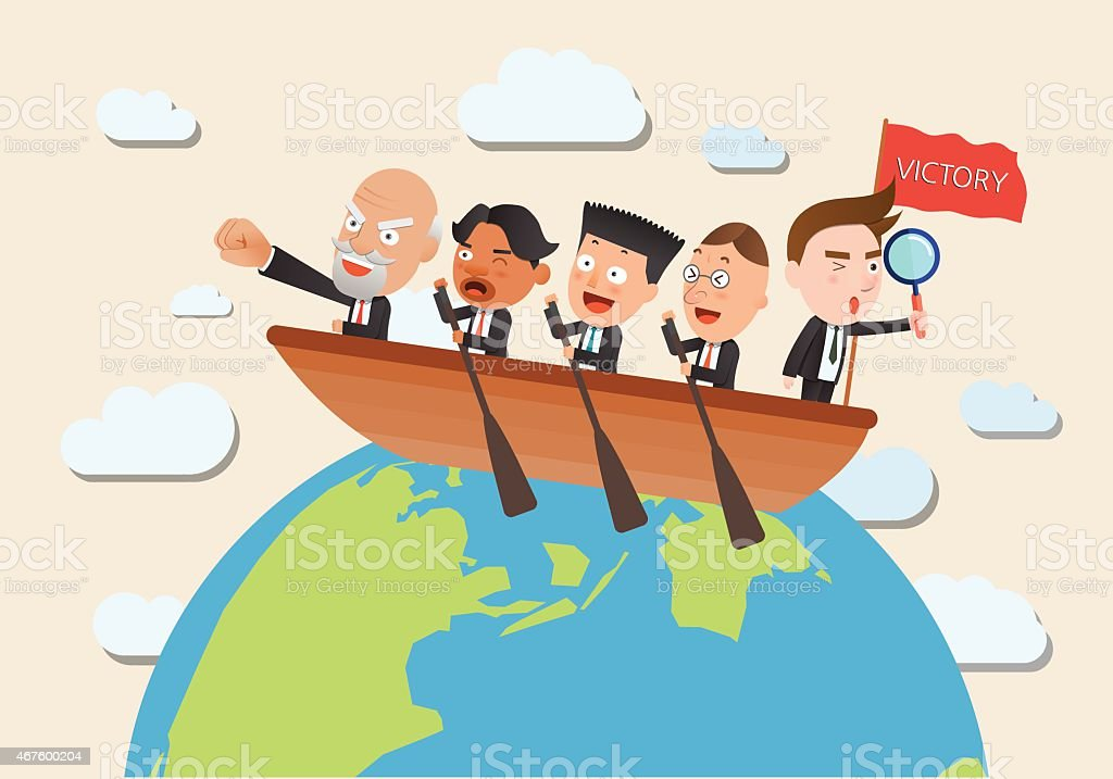 Business corporation team rowing concept flat character vector art illustration