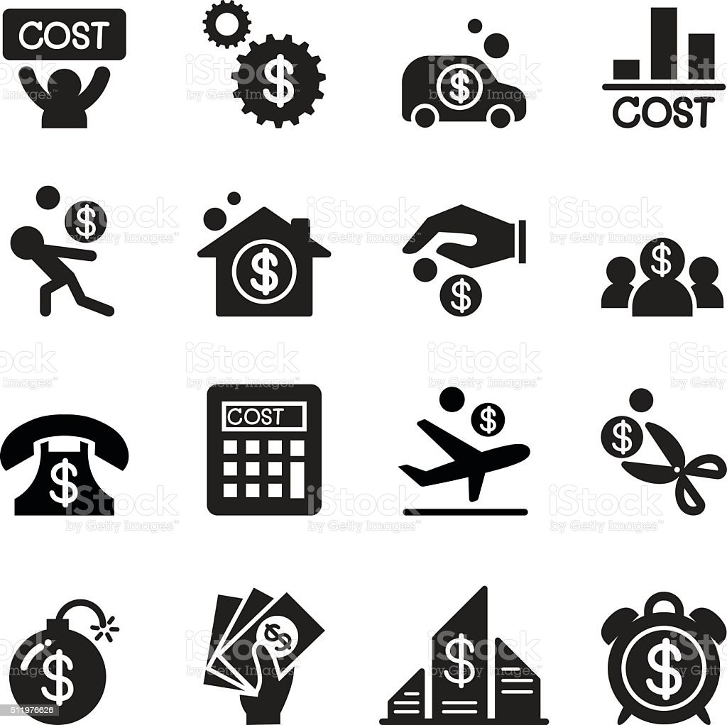 Business cost icon set vector art illustration