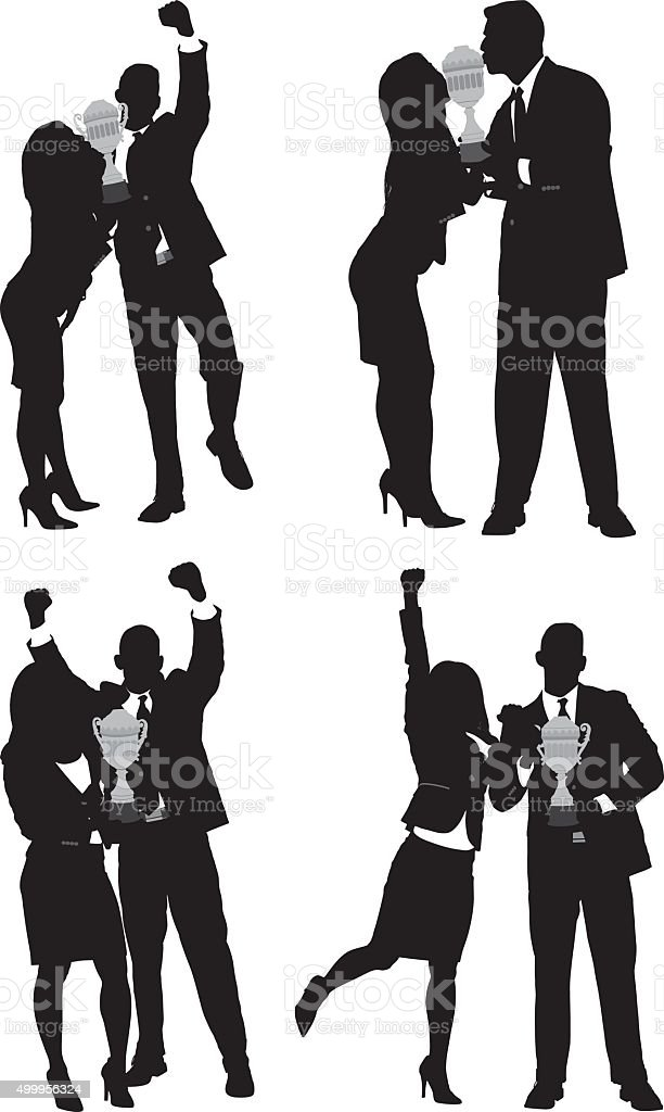 Business couple cheering with trophy vector art illustration