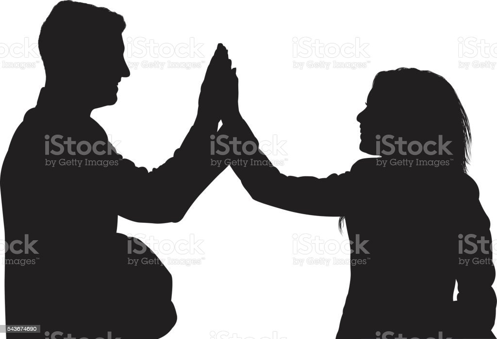 Business couple giving high five vector art illustration