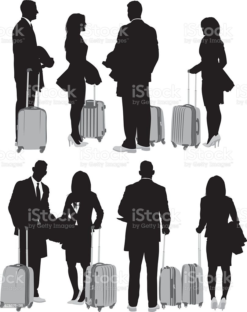 Business couple in various views vector art illustration