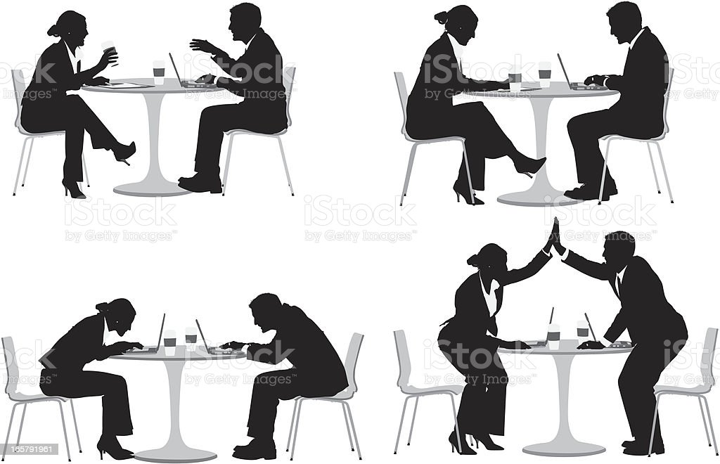 Business couple sitting in a restaurant royalty-free stock vector art