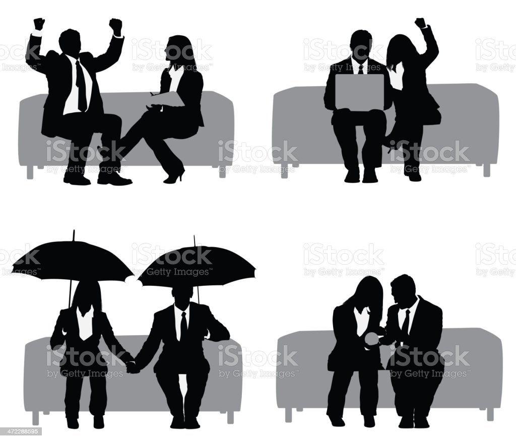 Business couple sitting on couch royalty-free stock vector art