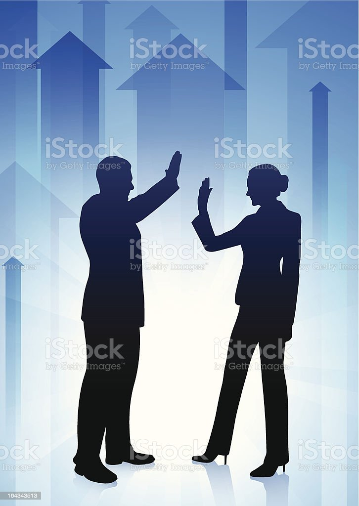 Business Couple with Arrow Background royalty-free stock vector art