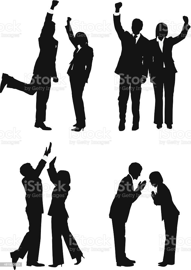 Business couples cheering vector art illustration