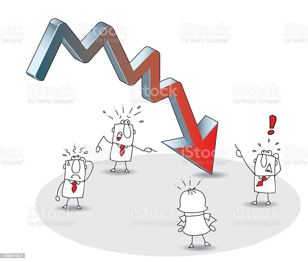 business crisis vector art illustration