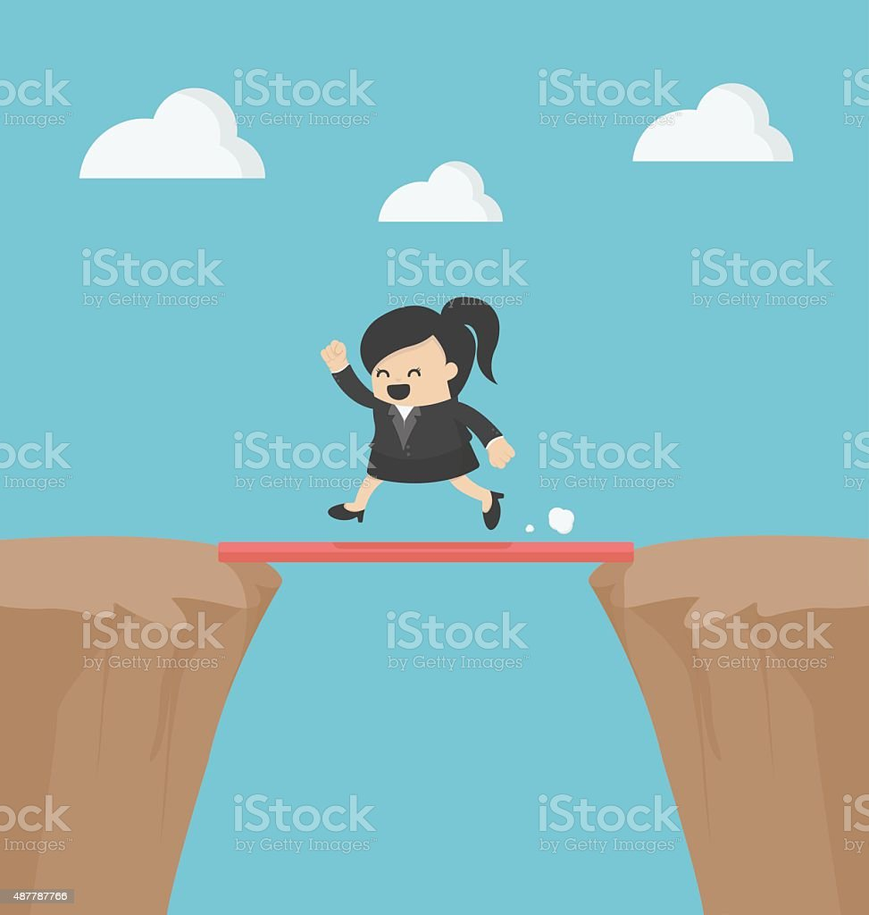 Business Cross the cliff With wonderful wood vector art illustration