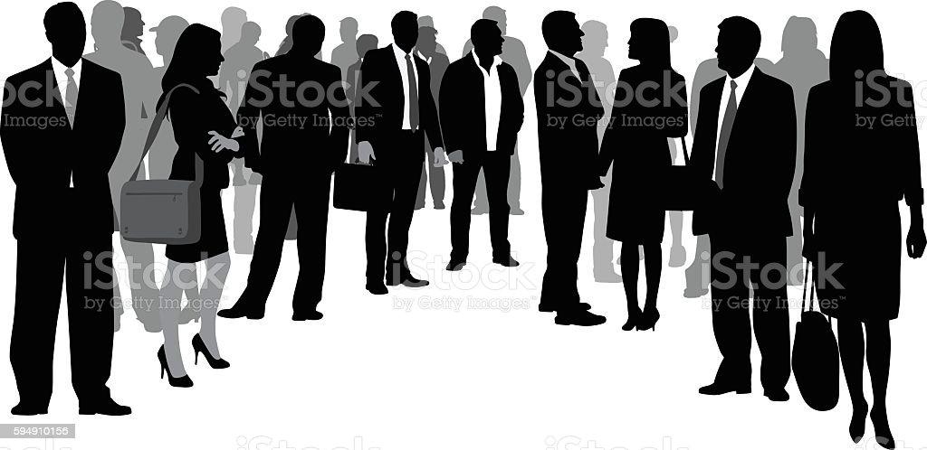 Business Crowd Circle vector art illustration