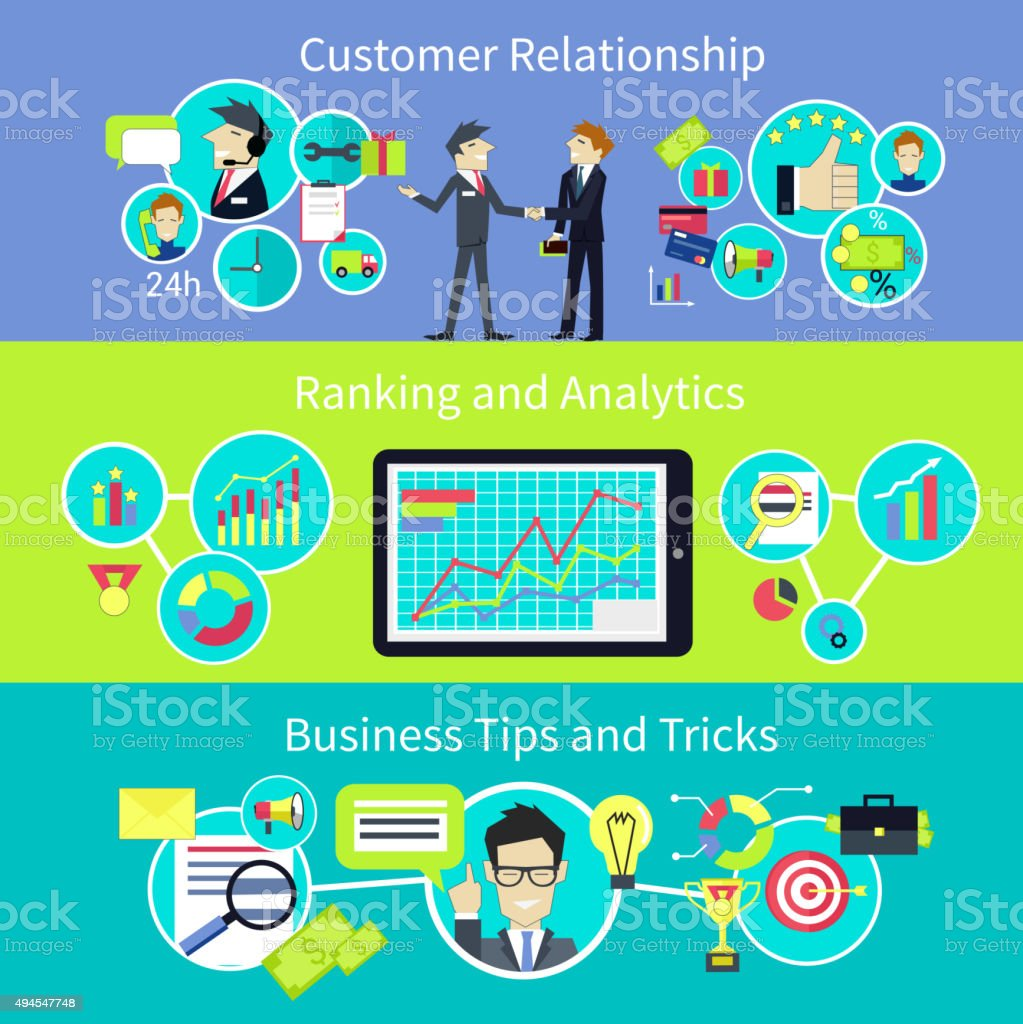 Business Customer Relationship. Tips and Trips vector art illustration
