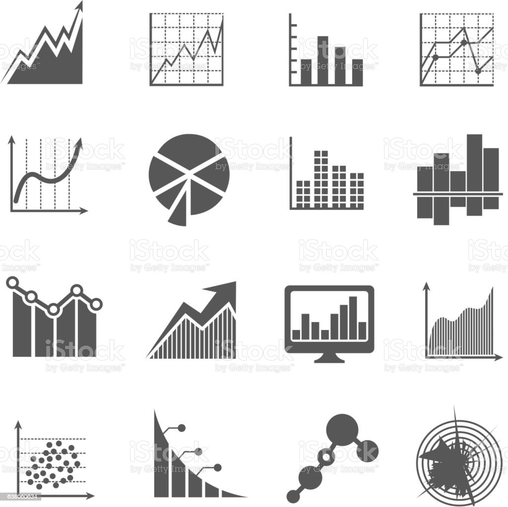Business data analytics icons. Measurements and financial diagrams vector signs vector art illustration