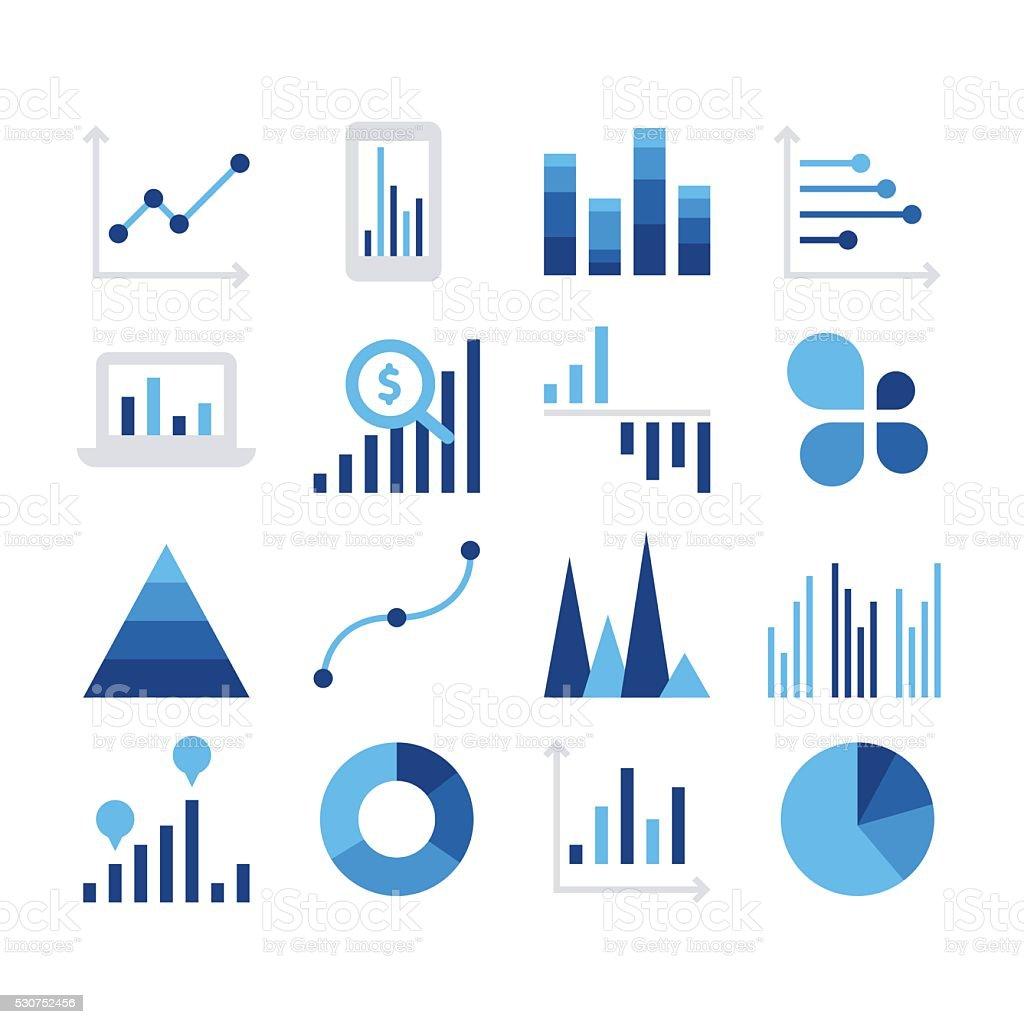Business data market elements vector art illustration