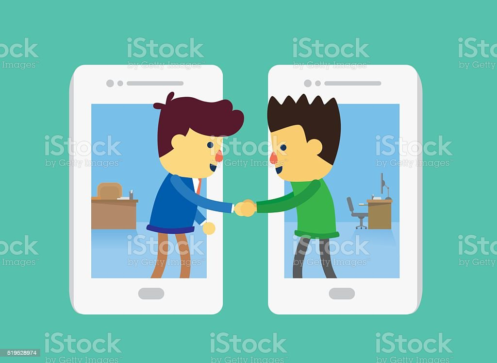 Business dealing by smartphone vector art illustration