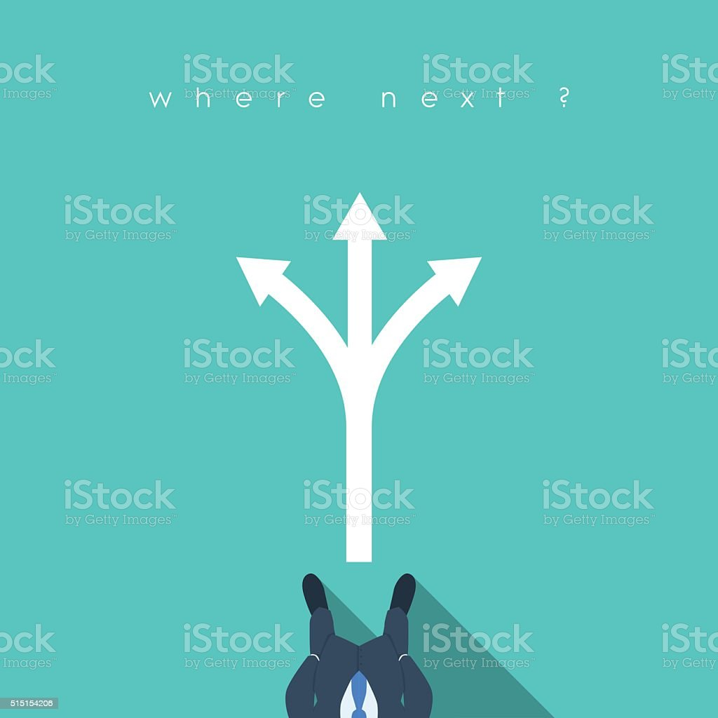 Business decision concept illustration with businessman standing in front of vector art illustration