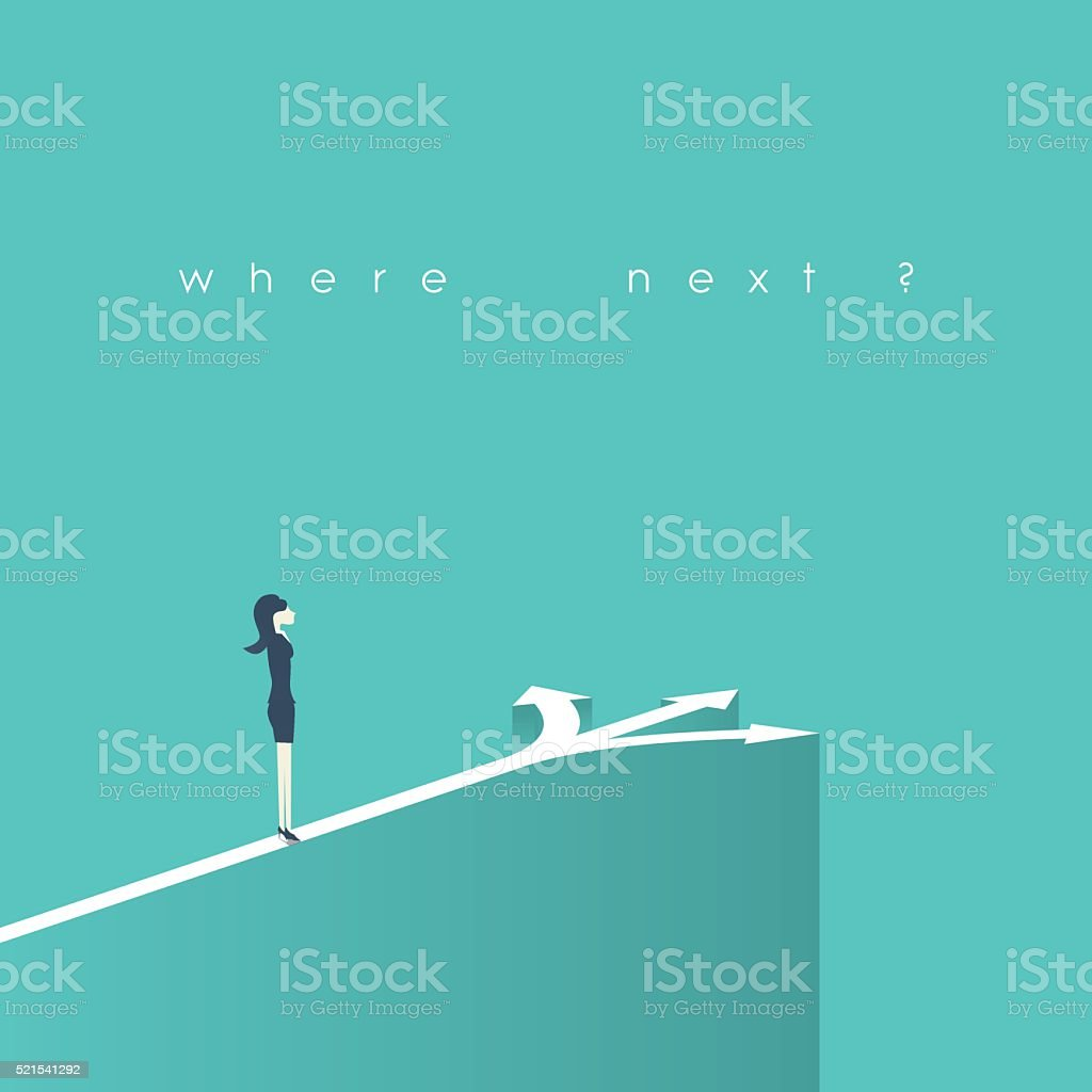 Business decision concept vector illustration. Businesswoman standing on the crossroads vector art illustration