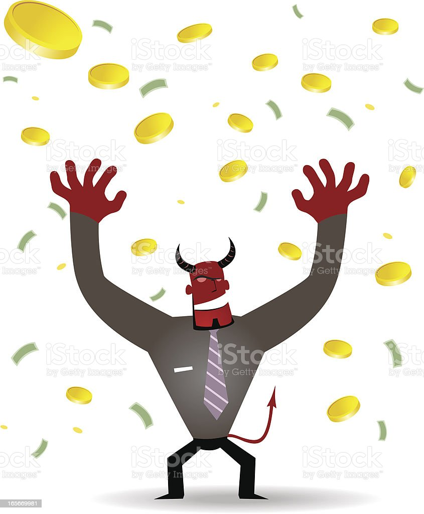 Business demon (Evil Businessman) and a lot of money Falling royalty-free stock vector art