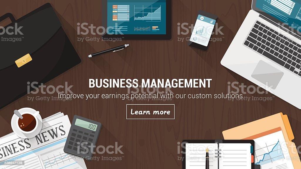 Business desktop vector art illustration