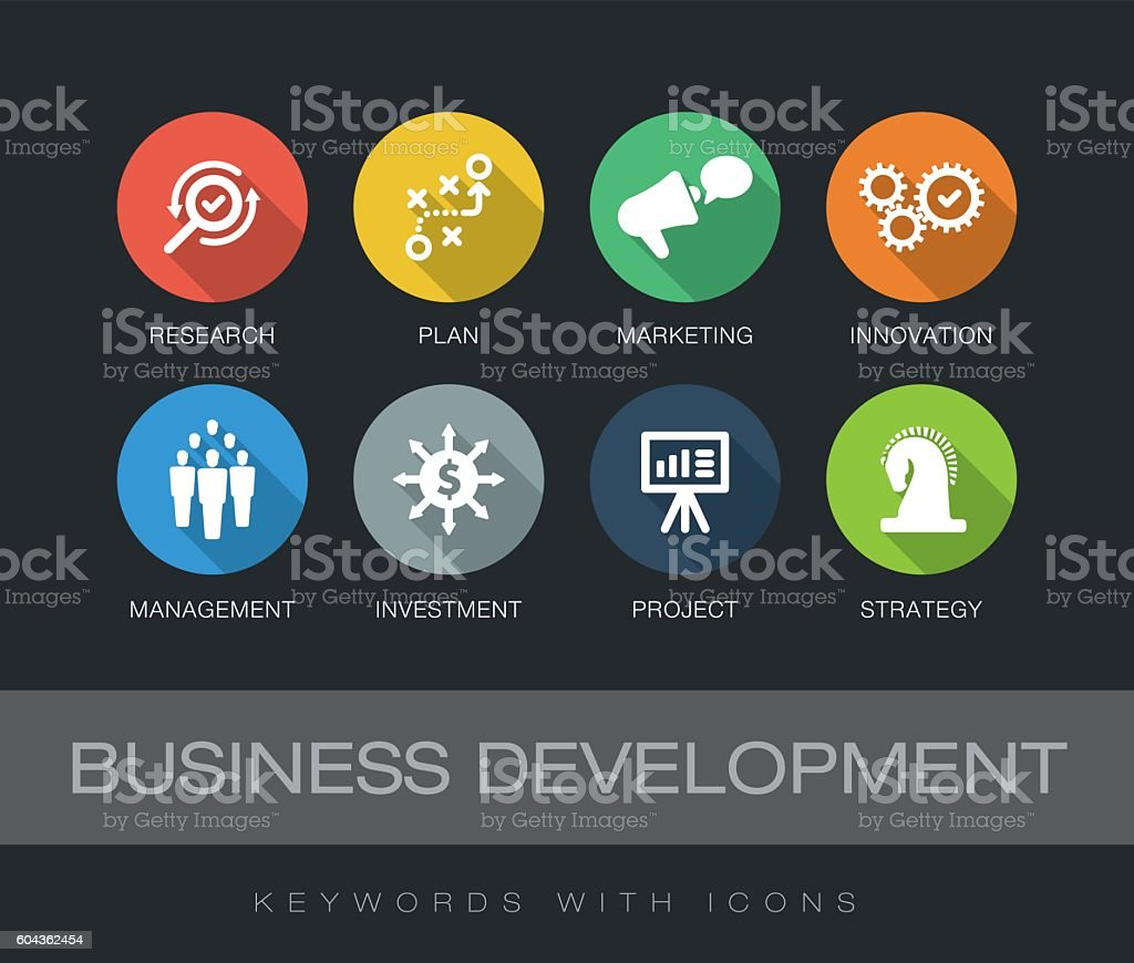 Business Development keywords with icons vector art illustration